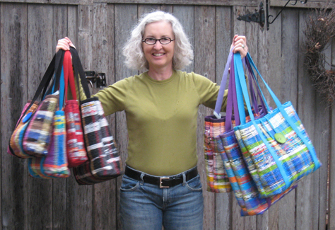 Ann Masemore with recycled totes